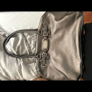 Large Silver Metallic Michael Kors Weeke Bag